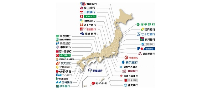 distribution map of regional-banks in Japan